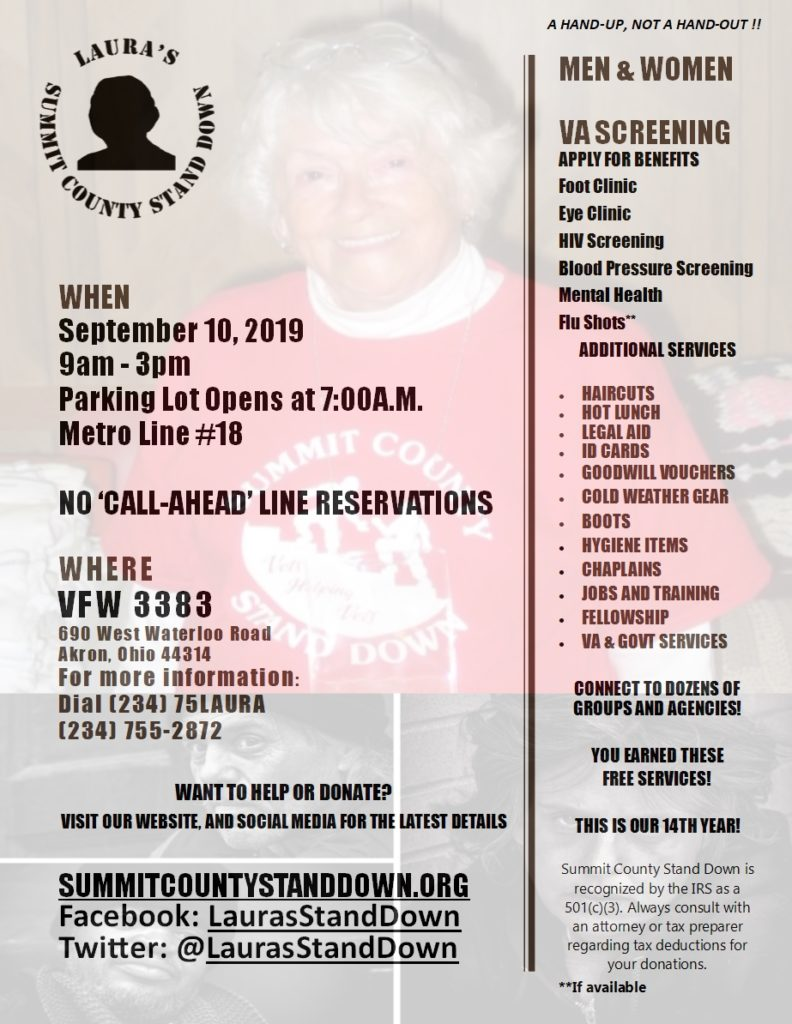 Annual Flier for the Summit County Stand Down featuring a background photo of our founder, Laura Williams Dunlop.
